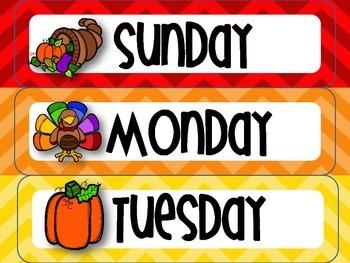 November Thanksgiving-themed Calendar Set in Chevron