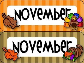 November Thanksgiving-themed Calendar Set in Stripes