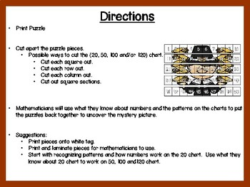 November Theme 20 Chart, 50 Chart, 100 Chart Mystery Picture Puzzles