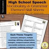 High School Speech Therapy  Vocabulary and Grammar Skill Sheets ~ November Set