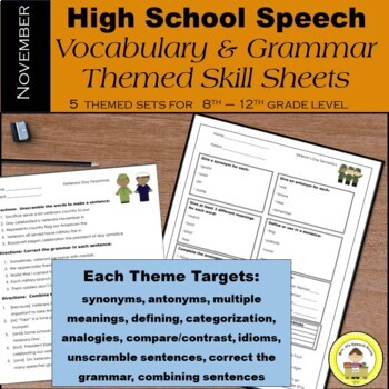 November Speech Therapy Theme-Based Vocabulary and Grammar
