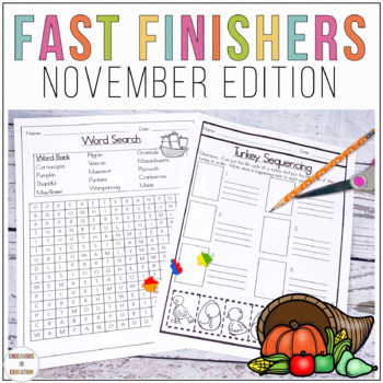November Themed Activities for Fast Finishers