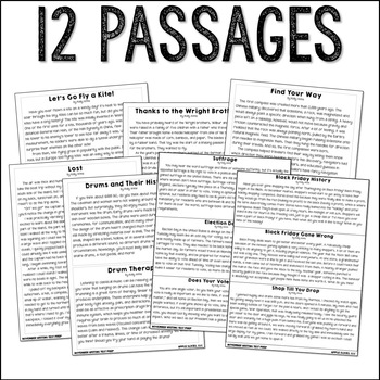 November Themed ELA Paired Passages with Writing Prompts