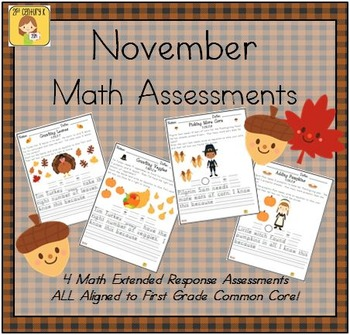 November-Themed First Grade Math Extended Response Bundle