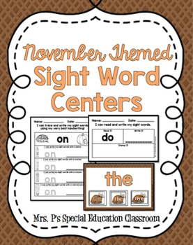 November-Themed First Level Sight Word Centers