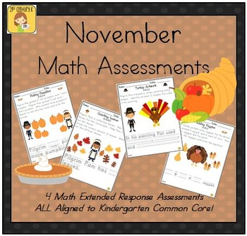 November-Themed Kindergarten Math Extended Response Bundle