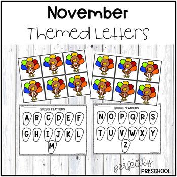 November Themed Sensory Bin Letters