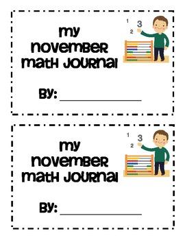 November Themed Math Journals