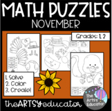 November Themed Math Puzzles - Color by Sum and Difference!