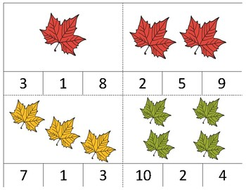 November Themed Math Task Cards- AUTISM and Special Education Task Boxes