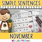 November Themed (Simple Predictable Sentences for Beginning Readers)