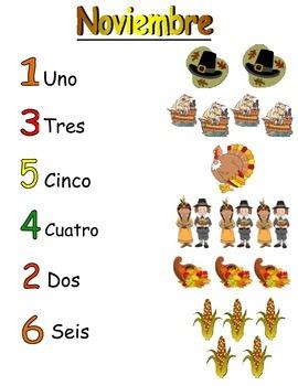November Themed Spanish Counting Activity
