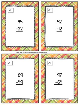 November Themed Subtraction Without Regrouping Task Cards & Game 2.NBT.5