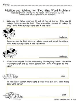 November Themed Two Step Word Problems