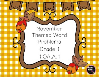 November Themed Word Problems GR1 1.OA.A.1