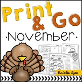 November No Prep Math and Literacy Worksheets for Kindergarten