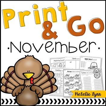 Print & Go November NO PREP Math and Literacy for Kindergarten