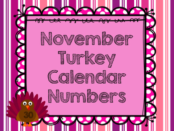 November Turkey Calendar Numbers