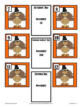 November Turkey Calendar Pieces-