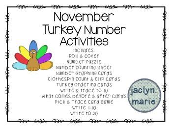 November Turkey Number Activity Packet