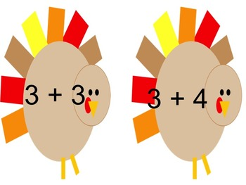November Turkey Primer Words and 2 and 3's addition facts