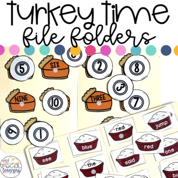 November Turkey Time File Folder Activities for Special Education