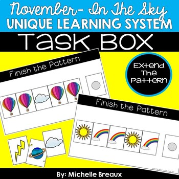 November Unique Learning System Task Box- Extending Patterns (SPED, Autism)