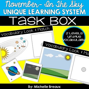 November Unique Learning System Task Box- In The Sky Vocabulary (SPED)