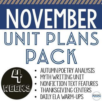 November Unit Plans Bundle - 5 units and lessons to teach