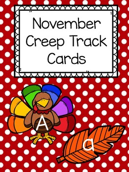 November Uppercase and Lowercase Letter Creep Track Cards