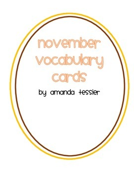 November Vocabulary Cards