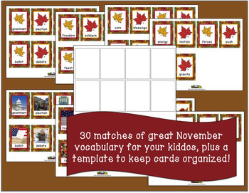 November Vocabulary Memory Game with Real Photos