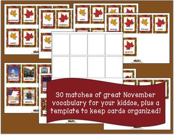 November Vocabulary Memory Game with Real Photos
