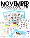 November Vocabulary Unit-  for Student's with Special Needs