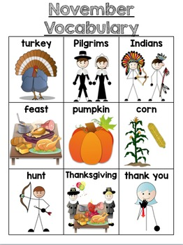 November Vocabulary Unit for Early Elementary or Students with Special Needs