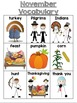 November Vocabulary Unit for Early Elementary or Students