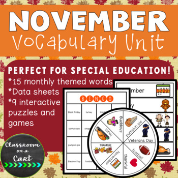 November Vocabulary Unit for Special Education