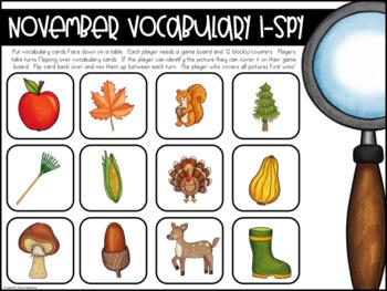 November Vocabulary {Vocabulary Cards, Mini-Reader, Activities}