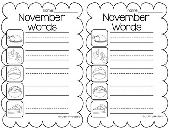 November Words - Vocabulary Cards