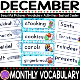 December Vocabulary Words (Christmas, Kwanzaa, Hanukkah)