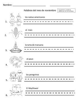 November Vocabulary Words Palabras de Noviembre Vocabulario