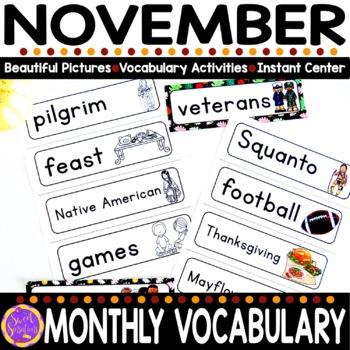 November Vocabulary Words (Thanksgiving, Turkey, Feast, Veterans)