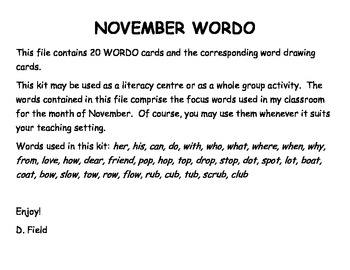 November WORDO