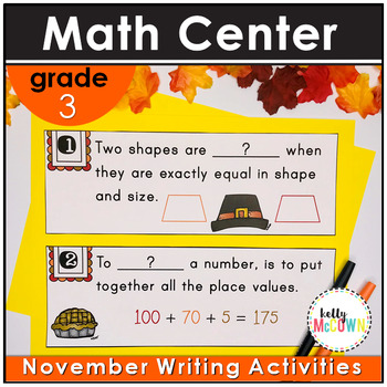 November WRITE THE ROOM with Math - 3rd Grade