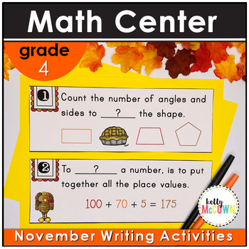 November WRITE THE ROOM with Math - 4th Grade