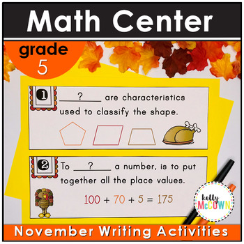 November WRITE THE ROOM with Math - 5th Grade