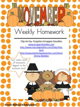 November Weekly Homework Common Core