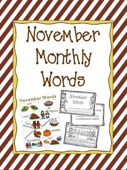 November Word Booklet and Coordinating Poster
