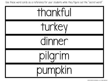 November Word Builders Word Work Activity