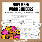 November Word Builders Word Work Activity
